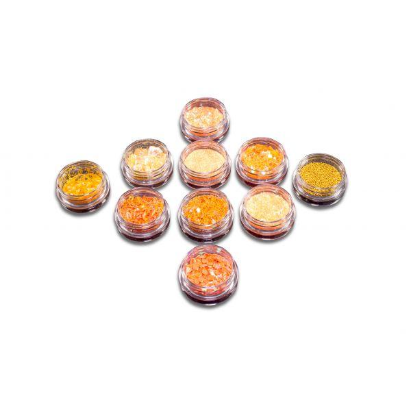 10 Döschen Nail Art Glitzer & Steinchen Orange
