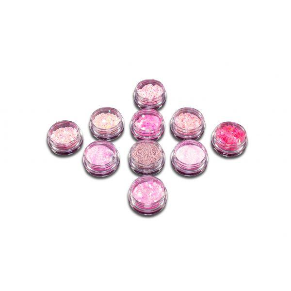10 Döschen Nail Art Glitzer & Steinchen Pink