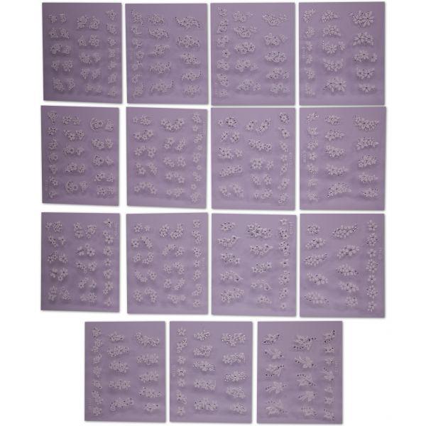 15 Weiße 3D Nagelsticker Bogen