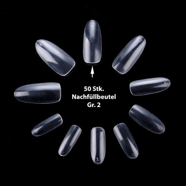50 ovale Tips Klar Gr. 2