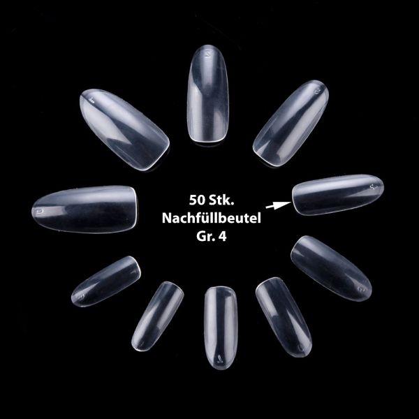 50 ovale Tips Klar Gr. 4
