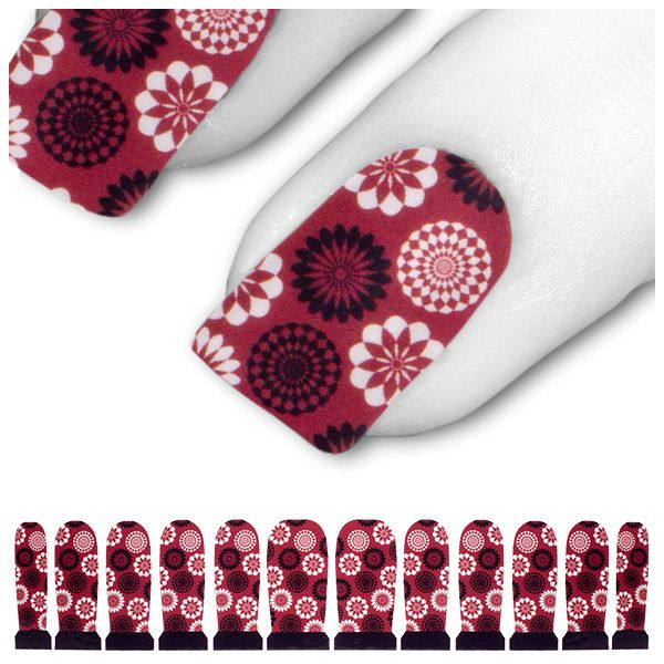 Tattoo Schwarz Rot Ornament Blumen 60s C3-04