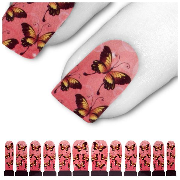 Tattoo Nagel Rosa Pink Gelb Schmetterling Falter C3-18