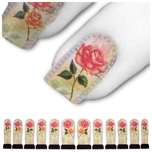 Transfer Tattoo Grün Pink Rosa Rose Rosen C4-19