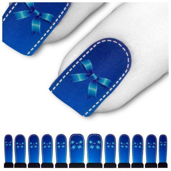 Wasser Transfer Tattoo Blau Weiß Schleife C5-14
