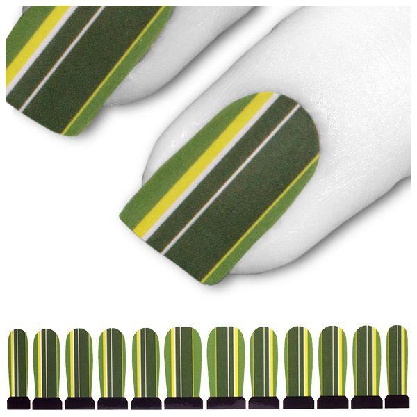 Wasser Transfer Tattoo Grün Gelb Linien Streifen C6-11