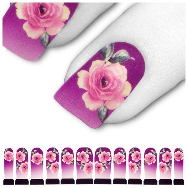Tattoo Lila Rosa Pink Blume Blüte Rose C7-18