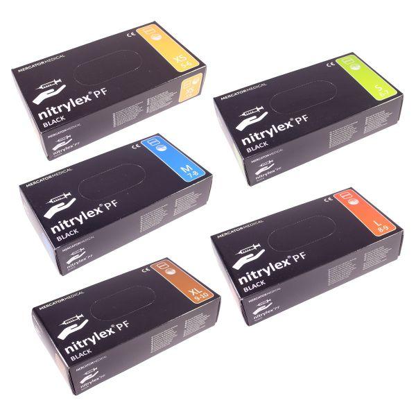 nitrylex PF Nitril Einmalhandschuhe Puderfrei Schwarz XS - XL